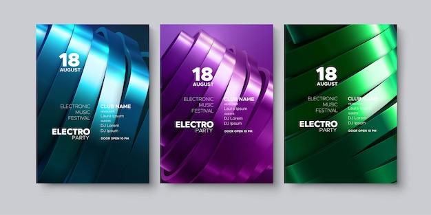 Elektronische muziek partij reclame poster sjabloon