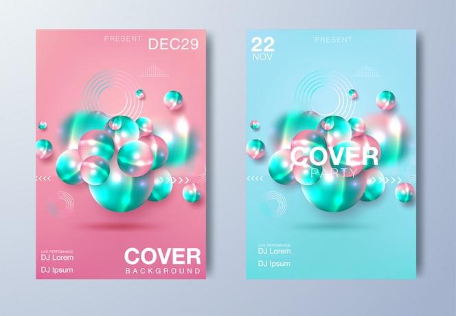 Elektronische muziekaffiche. Moderne clubfeest flyer. Abstracte gradiënten muziek achtergrond. Zomer fest vector dekking
