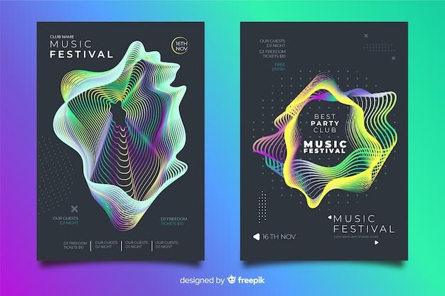 Elektronische muziekfestival postercollectie