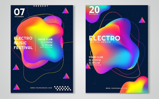 Elektronische muziekfestival reclameposter.