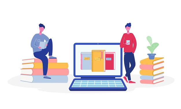 Elektronische onlinebibliotheekaffiche met laptop en boeken, mensen die karakters lezen of studenten studeren, e-boeklezers, modern literatuurfansconcept. platte cartoon