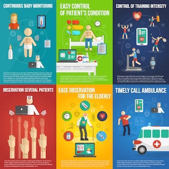Elektronische patch mini-poster set veelkleurig