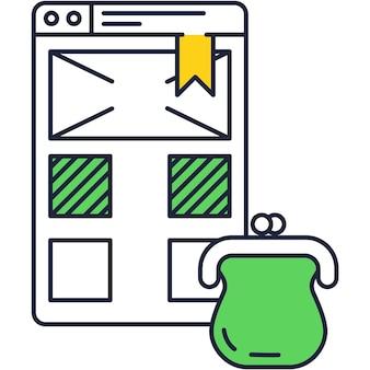 Elektronische portemonnee bankrekening webpagina vector icon
