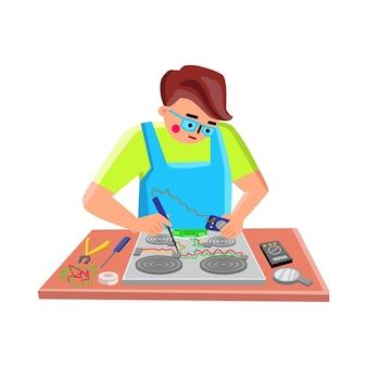 Elektronische reparatie service werknemer fix apparaat vector. elektronische kachel gadget testen en repareren van jonge reparateur ingenieur, solderen met ijzeren soldeerdraad. karakter platte cartoon afbeelding