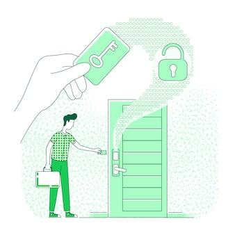 Elektronische sleutel dunne lijn concept illustratie. persoon met behulp van plastic keycard 2d stripfiguur voor webdesign. keyless lock beveiligingssysteem, smart home, woningbeveiliging creatief idee