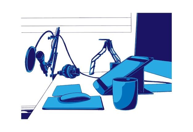 Elektronische spullen voor podcast-illustratie
