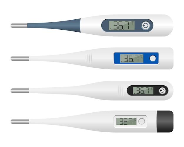 Elektronische thermometer ontwerp illustratie op een witte achtergrond