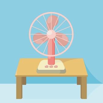 Elektronische ventilator op een bureau