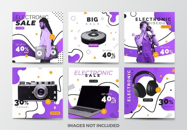 Elektronische verkoop sociale media banner sjabloonverzameling met paarse vloeistof achtergrond