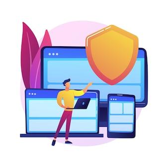 Elektronische verzekeringshardware. website van digitale verzekeraars, responsive webdesign, software voor malwarebescherming. beveiligingsgarantie van gadgets