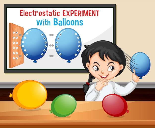 Elektrostatisch wetenschappelijk experiment met wetenschappermeisje