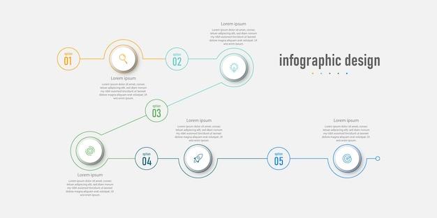 Element infographic ontwerpsjabloon tijdlijn met 5 stappen opties kunnen worden gebruikt voor workflow