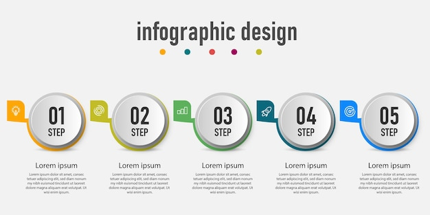 Element infographics cirkel zakelijke grafisch diagram, tijdlijn met 5 stappen