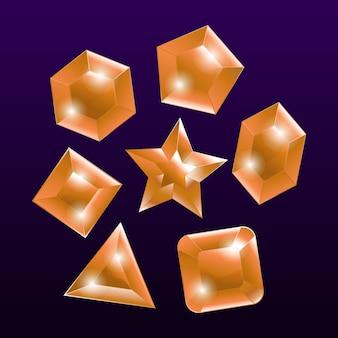 Element ingesteld embleem edelsteen oranje