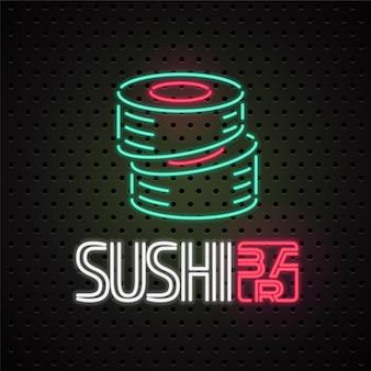 Element voor sushi, sushi bezorgservice met neonlichtteken
