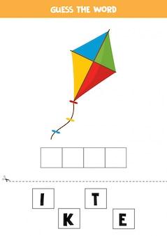 Elementair spellingsspel voor kinderen met speelgoedvlieger.