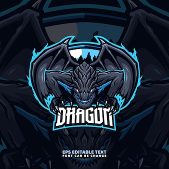 Elementaire dragon mascotte logo sjabloon