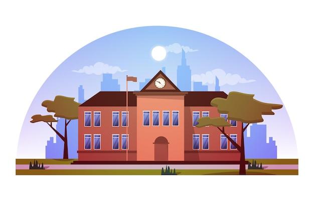Elementaire middelbare school gebouw studie onderwijs vectorillustratie