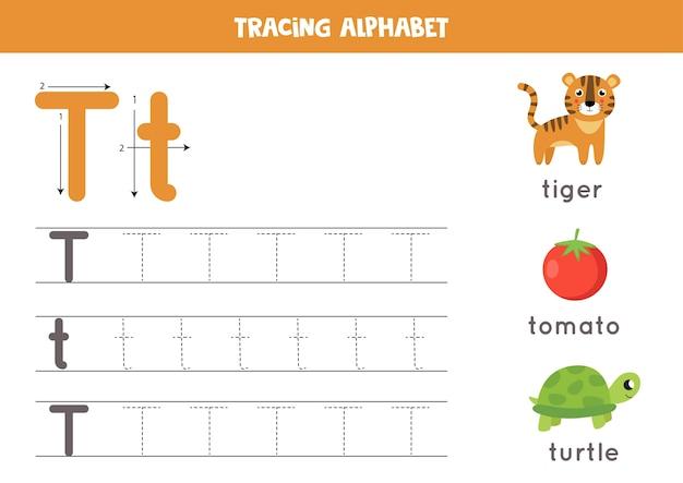 Elementaire schrijfoefening voor kinderen. alfabet werkblad met alle az-letters. hoofdletters en kleine letters t traceren met schattige cartoon tijger, schildpad, tomaat. educatief grammaticaspel.