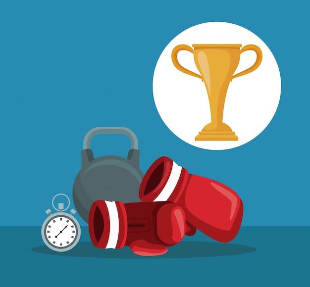 Elementen boksen kettlebell en chronometer met circulaire frame cup trofee