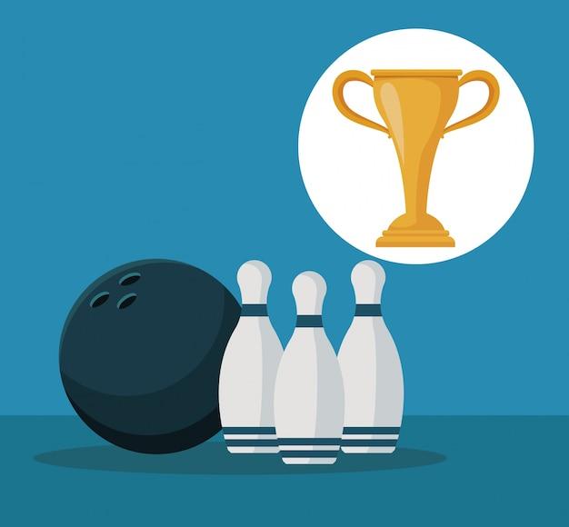 Elementen bowlingbal en pinnen met circulaire frame cup trofee