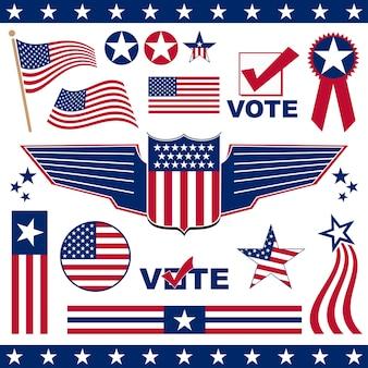 Elementen en iconen gerelateerd aan amerikaans patriottisme