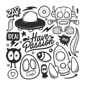 Elementen hand getrokken doodle vector