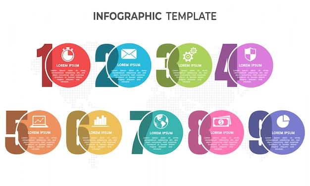 Elementen infographic sjabloon, 9 cirkelopties.