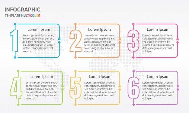 Elementen infographic sjabloon met nummers 6 opties.