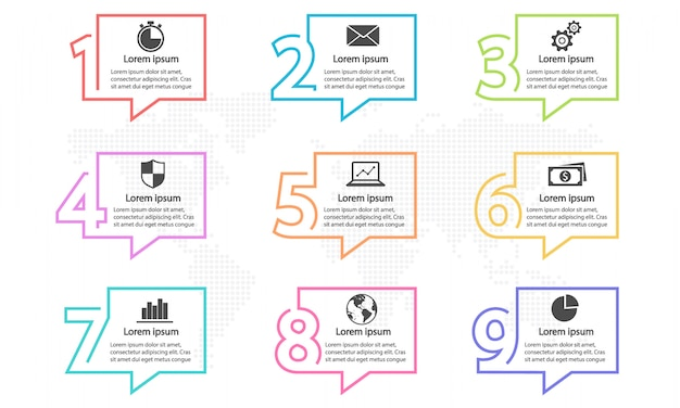 Elementen infographic sjabloon met nummers 9 opties.