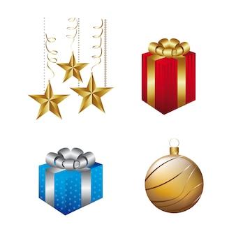 Elementen kerstmis geïsoleerd over witte achtergrond vectorillustratie