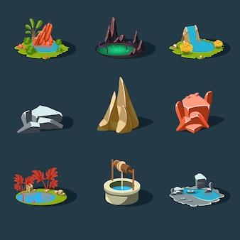 Elementen landschap, rotsen, waterput, waterval, meer, illustratie
