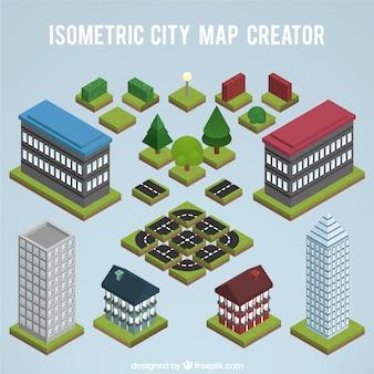 Elementen om een plattegrond van de stad te maken, isometrisch aanzicht