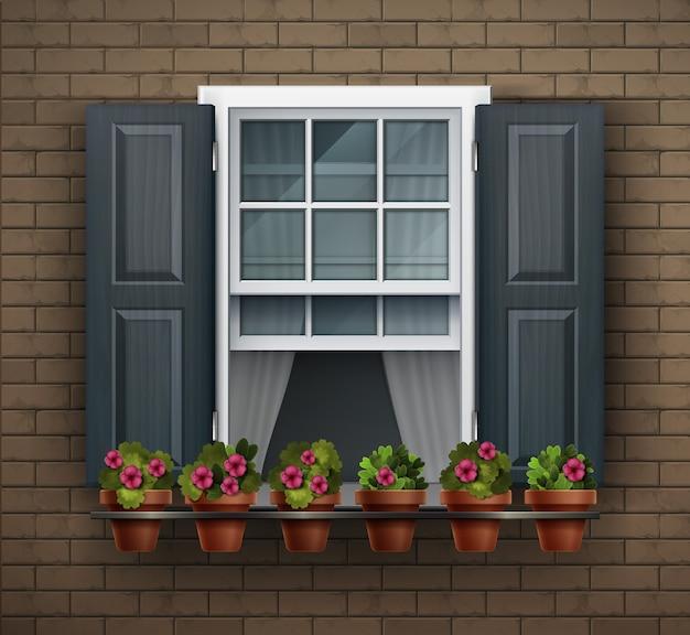 Elementen van architectuur, vensterachtergrond. venster met bloempotten op een muur. cartoon huiselement. close-up van mooi wit omlijst raam met bloemen
