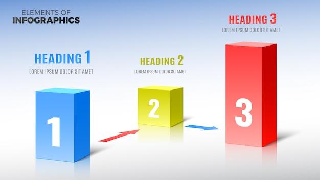 Elementen van infographics in de vorm van rechthoekige kolommen.