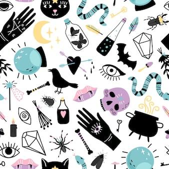 Elementen voor goochelaar naadloos patroon. hand getrokken collecties voor heks, magische ketel met drankje, slang en kristallen bol voor tovenaar, vector illustratie concept van zwarte witchcr