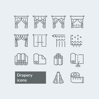 Elementen voor gordijnen en gordijnwinkel. verschillende stijlen van gordijnen, gordijnen en tule.