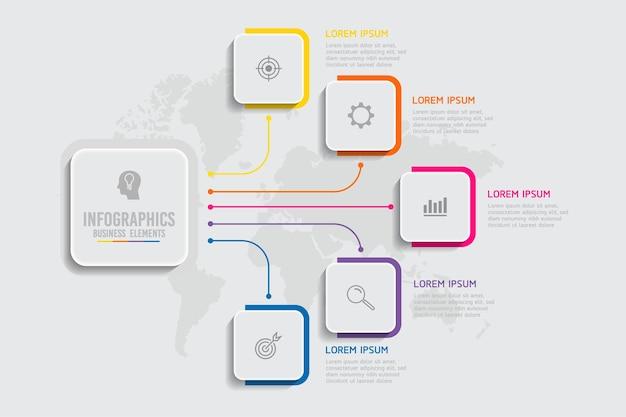 Elementen voor infographics. presentatie en grafiek. stappen of processen. opties nummer workflowsjabloonontwerp. 5 stappen.