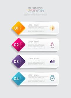 Elementen voor infographicspresentatie en grafiekstappen of processenopties nummer workflowsjabloonstappen