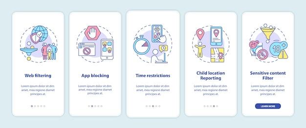 Elementen voor ouderlijk toezicht onboarding mobiele app-paginascherm met concepten