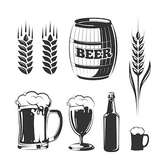Elementen voor vintage bierfestivallabels en emblemen.
