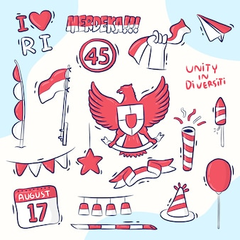 Elementontwerp voor de onafhankelijkheidsdag van indonesië, handgetekende stijl, merdeka betekent onafhankelijk