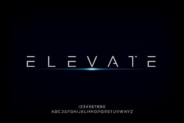 Elevate, een abstract futuristisch alfabetlettertype met technologiethema. modern minimalistisch typografieontwerp