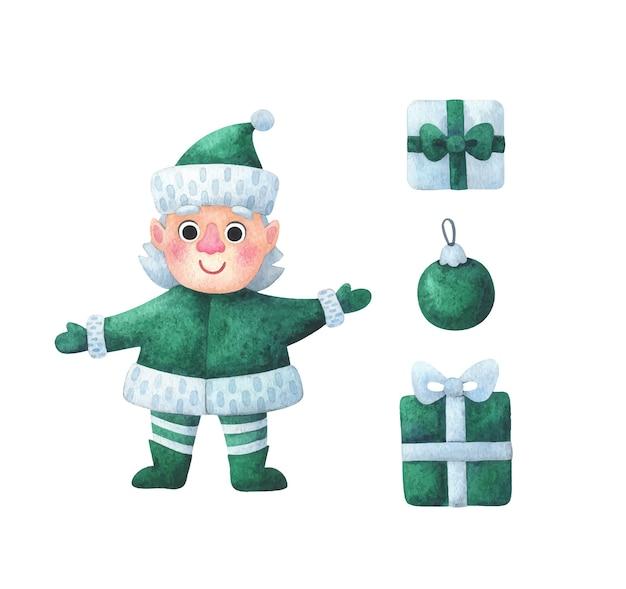 Elf-assistent van de kerstman. clipart kerstkarakter, geschenken, groene kerstbal.