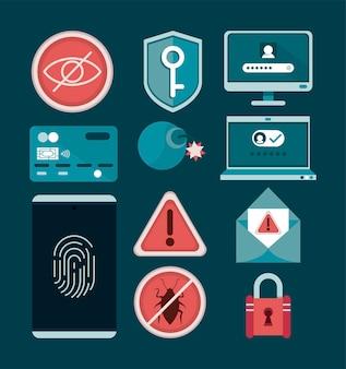Elf pictogrammen voor cyberbeveiliging