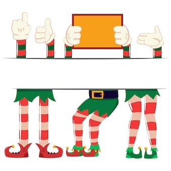 Elf schoenen met benen en cartoon handen in handschoenen met een leeg bord. vector kerstset van santa's helpers geïsoleerd