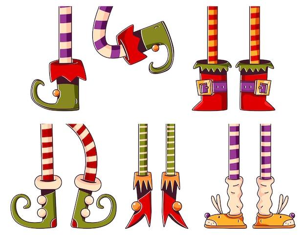 Elf voeten vector tekenfilm set geïsoleerd op een witte achtergrond.