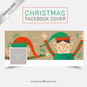 Elfjes kerst facebook omslag in een retro stijl