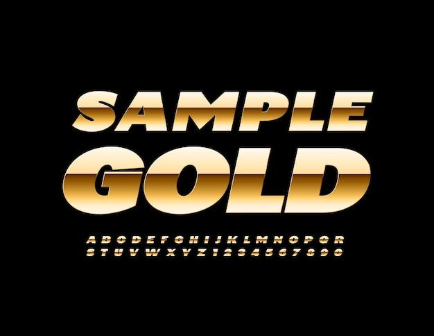 Elite-sjabloon sample gold premium-stijl lettertype modern chique alfabetletters en cijfers ingesteld