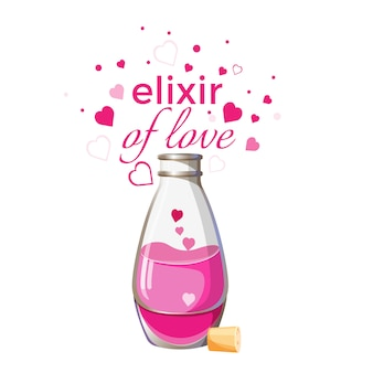 Elixer van liefde fles met roze vloeistof en harten geïsoleerd